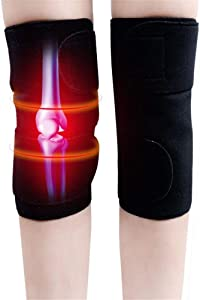 CTHOPE 1Pair Self Heating Knee Brace Sleeve, Adjustable Tourmaline Magnetic Therapy Knee Pad Support with Open Patella Stabilizer