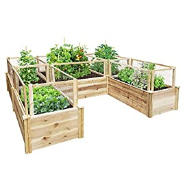 Greenes Fence Premium Cedar Raised Garden Bed 8 ft. x 8 ft. x 16.5 in. U-Shaped Bed 4 GREENES PREMIUM RAISED GARDEN BED: Greenes Fence Premium line of cedar raised garden beds allows you to create an open-bottom frame to support your garden. Raised garden beds give your plants the room they need to grow in the location of your choice. Our cedar frame is left untreated, which means it is organic and safe to grow vegetables, herbs, and fruits in. PREMIUM LINE: With sanded boards that are thicker than our Value and Original lines, our Premium raised garden beds are an exceptional choice for all your growing needs. EASY TO SET UP: Greenes Fence raised garden beds use dovetail interlocking joints, which makes assembly a breeze. Each board slides into the corner posts without tools to form a secure open-bottom garden frame. Every corner post is routed on all four sides for easy assembly and expansion. The decorative tops can be added to each post using a screwdriver.