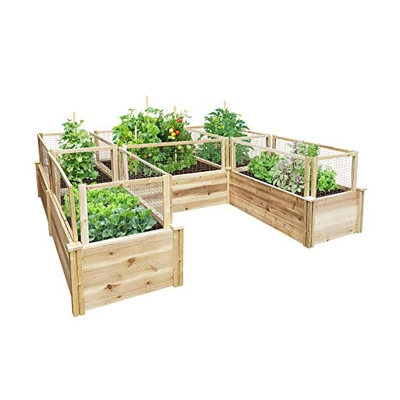 Greenes Fence Premium Cedar Raised Garden Bed U-Shaped Bed 1 GREENES PREMIUM RAISED GARDEN BED: Greenes Fence Premium line of cedar raised garden beds allows you to create an open-bottom frame to support your garden. Raised garden beds give your plants the room they need to grow in the location of your choice. Our cedar frame is left untreated, which means it is organic and safe to grow vegetables, herbs, and fruits in. PREMIUM LINE: With sanded boards that are thicker than our Value and Original lines, our Premium raised garden beds are an exceptional choice for all your growing needs. EASY TO SET UP: Greenes Fence raised garden beds use dovetail interlocking joints, which makes assembly a breeze. Each board slides into the corner posts without tools to form a secure open-bottom garden frame. Every corner post is routed on all four sides for easy assembly and expansion. The decorative tops can be added to each post using a screwdriver.