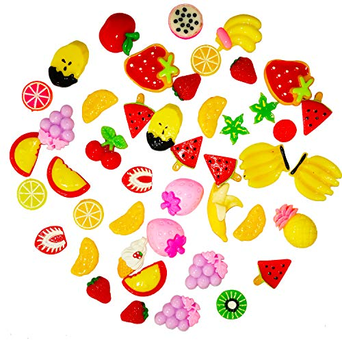 (OCEAN HOME 60 Pieces Slime Kawaii Charms, Mixed Resin Buttons Fruit Beads Supplies for DIY Crafts Accessories)