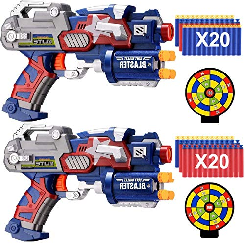 POKONBOY 2 Pack Blaster Guns with 40 Pack Refill Foam Bullet Darts and 2 Target Boys Kids Use