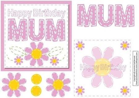 Cuadrado con Feliz cumpleaños mamá tarjeta - rosa por Gail ...