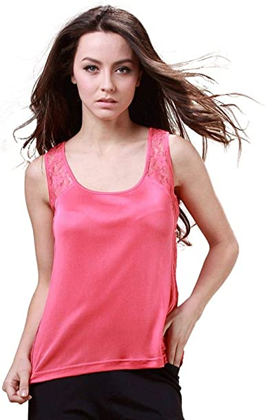 Forever Angel Womens 100/% Silk Knitted Mock Neck Sleeveless Camisole Tank