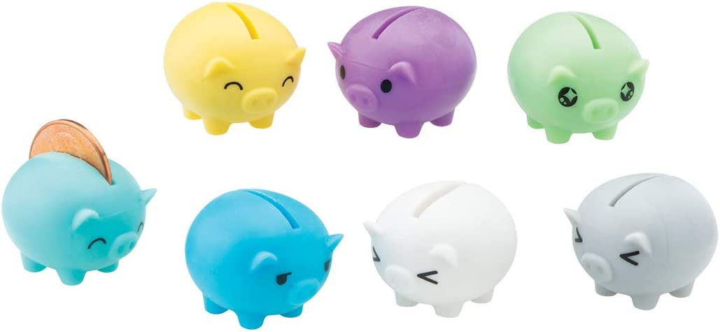12 ct Worlds Smallest Piggy Bank Squishy Soft Novelty Party Vending Toys