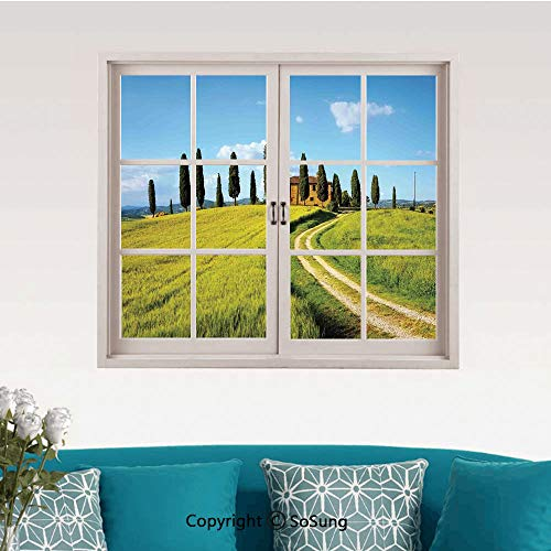 Tuscan Removable Wall Sticker/Wall Mural,Scenic Landscape of Village Greenery Trees Blue Sky Rustic House Image Creative Close Window View Wall Decor,24