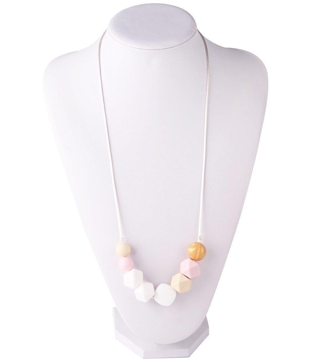 Collar De Dentición y Clip de Chupete, Juego de 2 Diseños de Rosa / Oro Para Mamás y Niñas, Chupete De Silicona, Juguete Para Dientes y Chupete ...