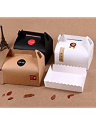 Chilly Treat Boxes, Decorative Kraft Gift Box, Set of 10 Bakery Cake Cupcake Cookies Chocolate Box, Trays and Stickers Included (3 Colors)
