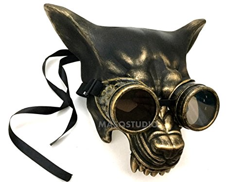 Black Gold Wolf Mask Masquerade Ball Glasses Goggles Halloween costume Haunted House party mask by MasqStudio