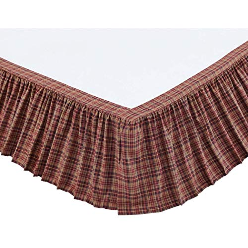 1 Piece Burgundy Navy Khaki Plaid Pattern Bed Skirt Queen Size 16-Inch Drop, Luxury Red Blue Gingham Checkered Design Ruffled Bed Valance, Casual Cabin Style Bedskirt, Bright Colors, Ultra-Soft Cotton