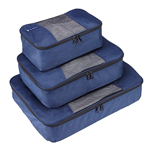 Premium Set of 3 Packing Cubes, Superior Travel Organizer Fits Inside Suitcases, Light Weight, Durable Fabric & Zippers, Highest Quality Materials (Blue) by NewNomad (Image #2)
