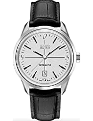 Bulova Mens Murren Mechanical Hand Wind Stainless Steel and Black Leather Automatic Watch (Model: 63B176)