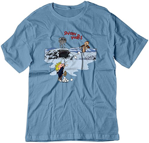 - BSW Youth Calvin and Hobbes Snow Wars Star Wars Shirt MED Carolina Blue