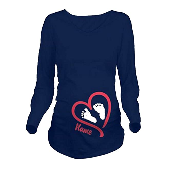 Aiweijia Imprimir Camiseta Embarazadas Mangas largas Suelta Comodidad Larga Sección