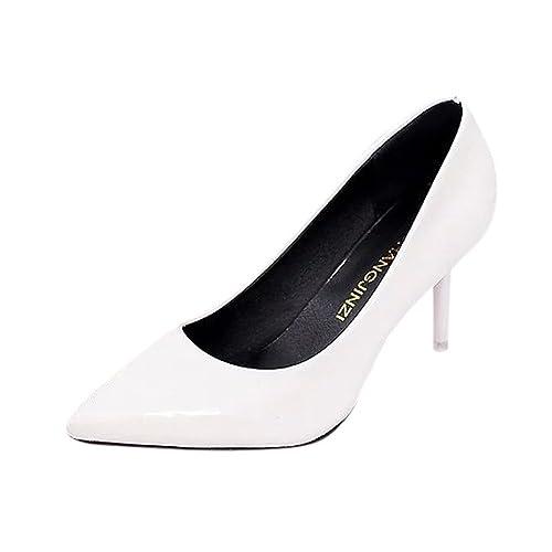 Holacha Mujer Zapato de Charol Cuero de 8cm Tacón Alto Zapatillas Moda Elegante 2018 Nuevo Primavera