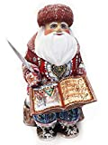 Santa Claus Sitting on a Wooden Chair With a Book Hand Carved Russian Father Frost 10 Inch
