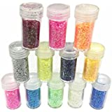 Arts and Crafts Glitter Shaker Jars,Best Colors for Art Projects,Face,Nail, Eye Art, Non-Toxic ,Slime Supplies Glitter Powder Sequins for Slime for DIY Scrapbooking Nail Art Color, 12 Pack Sequins