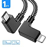 Obeka Compatible 1FT 90 Degree Micro USB to iOS Phone Tablet OTG Data Cable Right Angle Connector Cord DJI Spark, Mavic Pro, Platinum, Air, 2 Pro, Zoom Remote Controller Accessories (1 Pack)