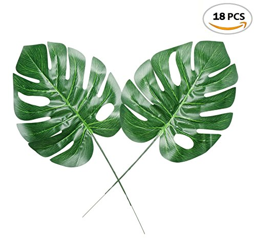 Fake Faux Artificial Tropical Palm Leaves for Home Kitchen Party Decorations or Handcrafts 18 Counts by ZXSWEET Tropical Palm Leaf