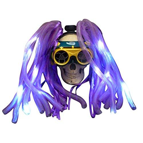 (Steampunk Goggles LED light dread cyberlock goth RAVE club)