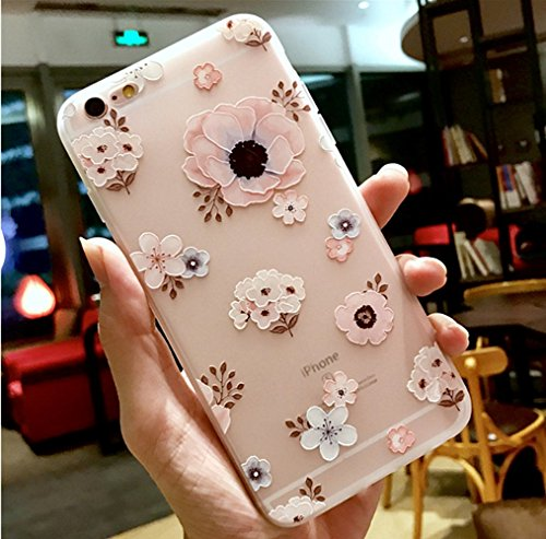iPhone 6 Plus Soft Case,LuoMing 3D Emboss Beautiful Flower Pattern Slim fit Shock-Absorbing Soft Rubber Clear TPU Skin Cover Case for iPhone 6 Plus/iPhone 6s Plus (5.5inch) (Floral Flower)