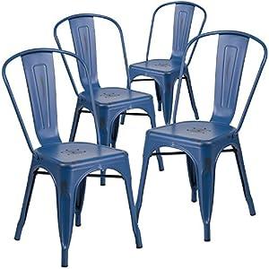 Flash Furniture 4 Pk. Distressed Antique Blue Metal Indoor-Outdoor Stackable Chair