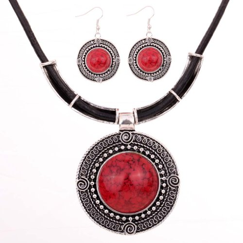 YAZILIND Vintage PU Leather Chain Red Round Pendant Bib Statement Necklace Earrings Set Wedding Party for Women 17