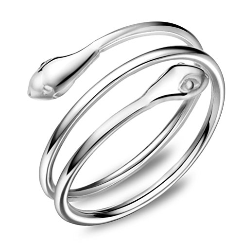 Gold White Ring Snake (Chaomingzhen 925 Sterling Silver Sexy Snake Opening Ring Women Adjustable Size)