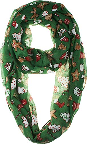VIVIAN & VINCENT Soft Light Elegant Merry Christmas Sheer Infinity Scarf Green Holiday Gift C15