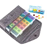 Travel Premium Pill Organizer Case Box Passport Wallet,Multi-Function Daily Pill Box for Vitamin/Fish Oil/Supplements