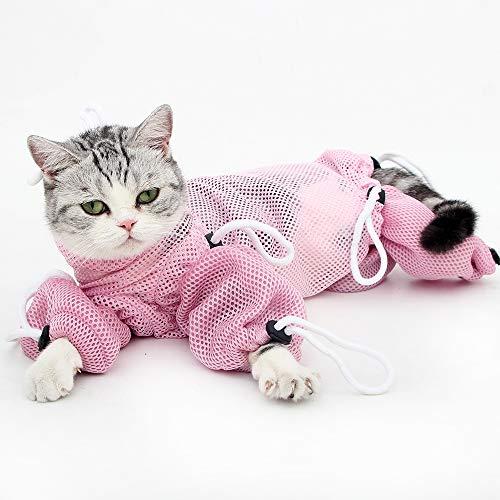 Heywean Cat Grooming Bag Restraint for Bathing Washing Adjustable Mesh Bag Anti-Biting Scratch Calming Cat Small Medium Pet Shower Bags (S)
