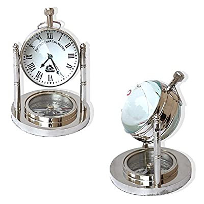 "Vintage Mini Table Clock and Compass Chrome Nautical Collection Desk Decorative Gifts Items - Size measures - Height 3 "" inches , Diameter 2 "" inches Color:Chrome/silver, Material Used:Brass Usage:General, Collectible, gfit - clocks, bedroom-decor, bedroom - 5165fgVmFBL. SS400  -"