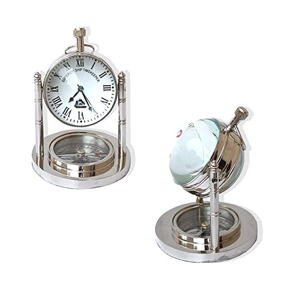 "Vintage Mini Table Clock and Compass Chrome Nautical Collection Desk Decorative Gifts Items - Size measures - Height 3 "" inches , Diameter 2 "" inches Color:Chrome/silver, Material Used:Brass Usage:General, Collectible, gfit - clocks, bedroom-decor, bedroom - 5165fgVmFBL. SS570  -"