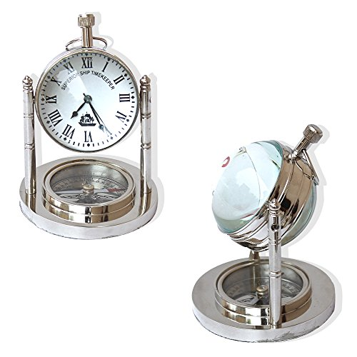 Vintage Mini Table Clock and Compass Chrome Nautical Collection Desk Decorative Gifts Items