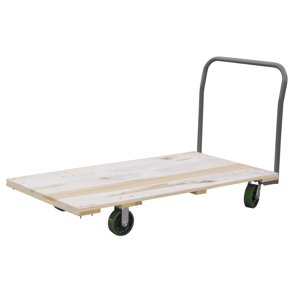 Akro-Mils RPT24485J5G6GY 24-Inch  by 48-Inch  Industrial Grade Hard Wood Platform Truck with Open Handle and 6-Inch  Polyurethane Casters with  2400-Pound capacity