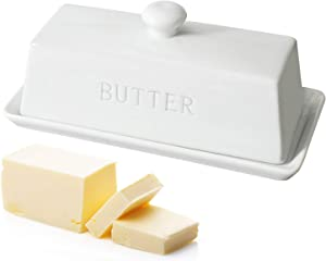 Ceramic Butter Dish,WERTIOO Porcelain Butter Dish with Lid Handle Cover Design, White
