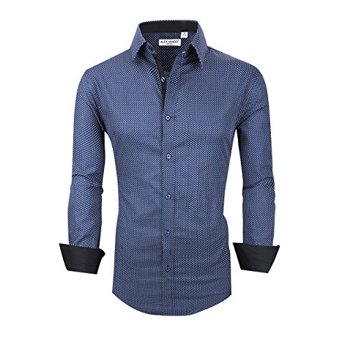 Alex Vando Mens Dress Shirts Cotton Casual Regular Fit Long Sleeve Collar...
