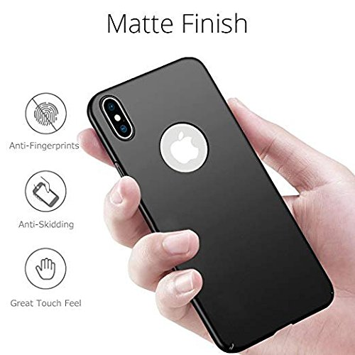 iPhone X Case,iPhone 10 Back Cover, Wireless Charging Support, Hard Hybrid Slim with 2 Tempered Glass Screen Protectors for Apple iPhone X (2017), Elegant, Ultra Thin(Black, 0.03in)