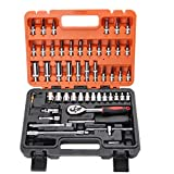 Your only family Practical 53 Sets Auto Repair Kit Casing Sleeve Wrench Set Fast Ratchet Repair Tool Combination Steam Tire Removal Suitable for Household, Car Repair Small Parts Removal Durable