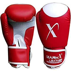 Red Boxing Gloves 12oz Kickboxing Punching Bag Gym Training Sparring Mitts