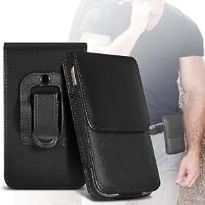ONX3 HTC Titan Protective PU Leather Slip cuerda del tirón en la bolsa de la liberación rápida (Negro)