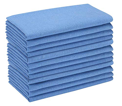 """Cotton Dinner Napkins 12 Pack - 18x18 Inch - Light Blue, 100% Cotton Wedding Napkins, Tailored with Mitered Corners and a Generous 1"""" Hem, Soft and Comfortable - Ideal for Events and Regular Home Use"""