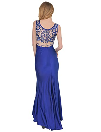 ohyeahlady Womens Embroidery Lace Dress Mermaid Evening Dress Sleeveless Prom Formal Dresses Blue UK ...