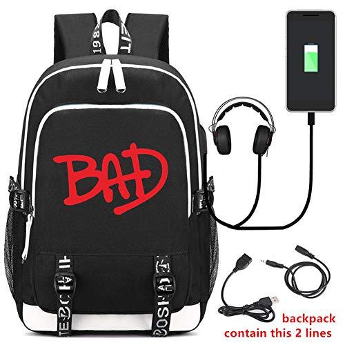 Michael Joseph Jackson Backpack Travel BackPack Laptop Bag College Bag Bookbag with USB Charging Port (Michael Jackson Backpack)