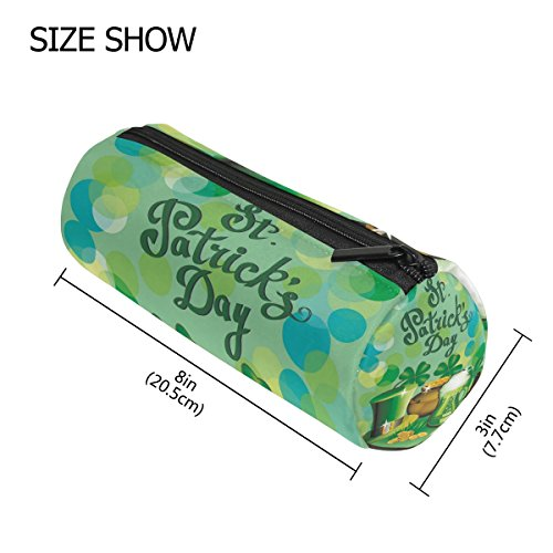 Pencil Case Cylinder Shape Holders Happy St Patrick Day Lucky Four Leaf Clover Pen Stationery Pouch Bag with Zipper Makeup