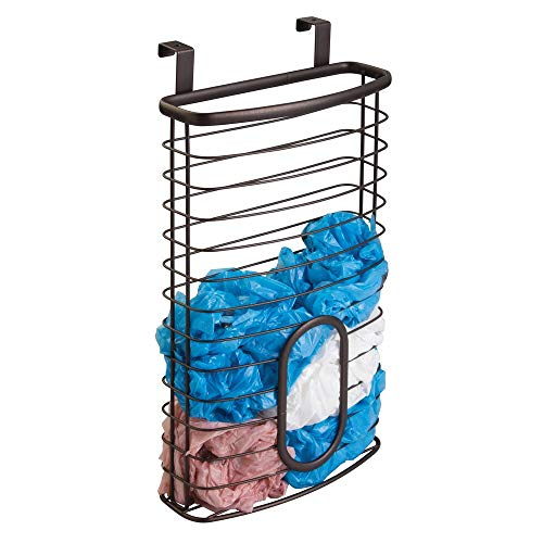 mDesign Metal Over Cabinet Kitchen Storage Organizer Holder or Basket - Hang Over Cabinet Doors in Kitchen/Pantry - Holds up to 50 Plastic Shopping Bags - ()