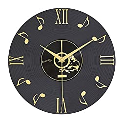 Besplore Musical Note Wall Clock,Vinyl Records CD Dial Plate and 3D Roman Numerals,12 inch,for Home Decor and Perfect Gifts for Music Lovers