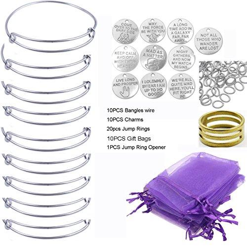 ChangJin 10PCS/Set Silver Tone Expandable Wire Bangle Bracelets Charms Gift Bags Kit]()