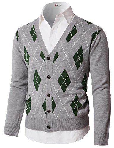 H2H Mens Casual Slim Fit Argyle Patterned V-Neck Collar Button Down Cardigan Sweater Gray US L/Asia XL - Button Mens Vest Argyle Down