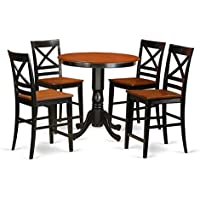 East West Furniture JAQU5-BLK-W 5 Piece High Top Table and 4 Counter Height Stool Set