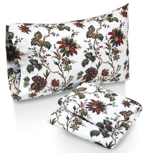 Floral Flannel Sheets (Tribeca Living Rainforest Printed Deep Pocket Flannel Sheet Set with Pillowcase, Queen)